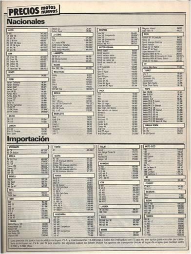 MOTOCICLISMO - Preus 1986
